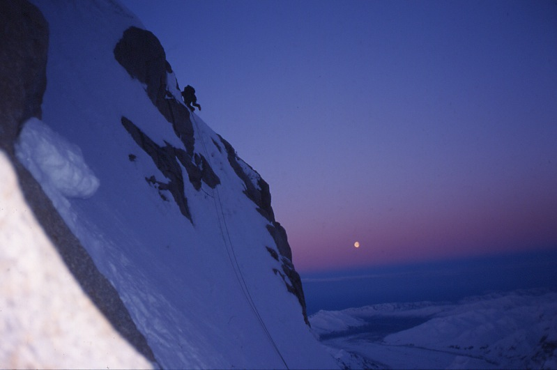 Heading toward the upper parts of Mt. Huntington.  Scott DeCapio photo.