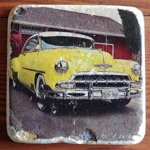 Vintage Yellow Chevy Coaster by Kelly Cushing