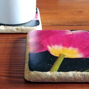 3 Pink Tulips Coaster by Kelly Cushing