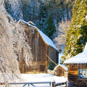 Front view of Carman Barn in Winter, Chilliwack, BC