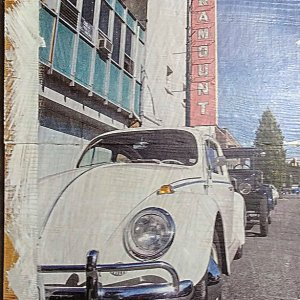 Wall Decor of Volkwagen Bug by the Paramount Theatre