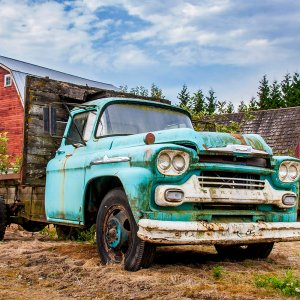 Barn and Chevy by Kelly Cushing