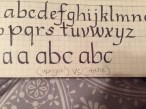 I liked comparing the upright to the italic side by side. I needed to see how they differed.