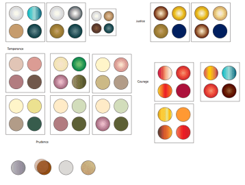 I spent the most time deciding what colors to include in my eyeshadow palettes. I really wanted the colors to reflect the definitions of the words prudence, temperance, justice, and courage. I also wanted to make sure that the colors worked well together and were practical enough to be applied to the eyes.These