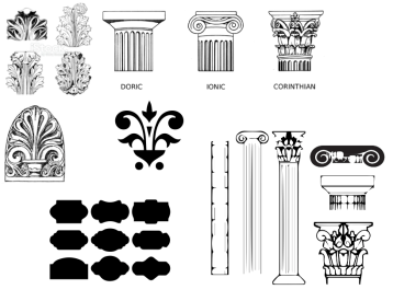 I gathered Greek imagery and architectural details. I used Image Trace to vectorize the images from online and planned on using their shapes and forms as part of my designs, but this never really happened.