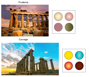 For the front cover of each quad, I edited photographs of Greek architecture in Photoshop. I tried to correspond the colors of the eyeshadow with the colors of the photograph. I wanted them to look cohesive.