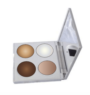 This is a digital mockup I did of the eyeshadow palette. I took a picture from Google images and brought it into Photoshop. Then I took the edited image into Illustrator, where I added the warped circles of color to represent the eyeshadow.