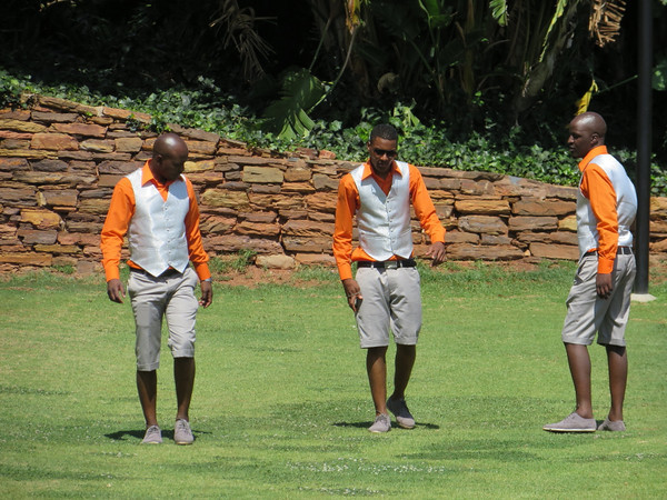 The guys practicing their dance moves for the party later