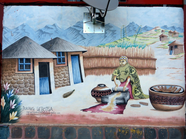 One of the beautiful murals at Malealea
