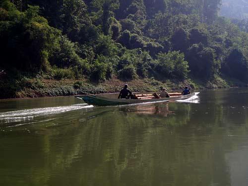 transporting logs on Nam Pa River, Laos