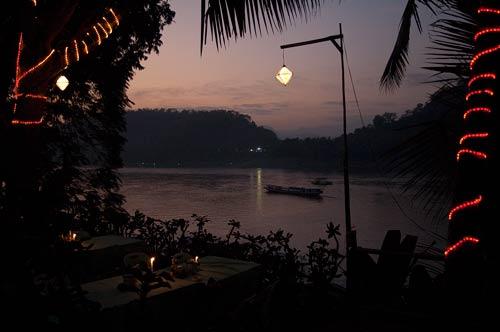 evening view of Mekong River, Luang Prabang, Laos
