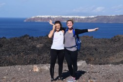 Anna and I on top of the Volcano (Santorini's Oia in the background)