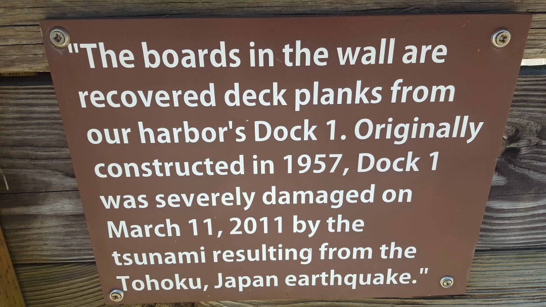 wall made from dock ruined by 2011 tsunami