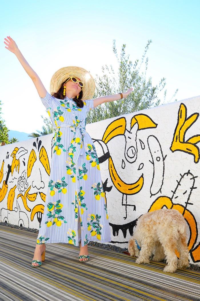 How to Wear a Lemon Print Dress | Kelly Golightly