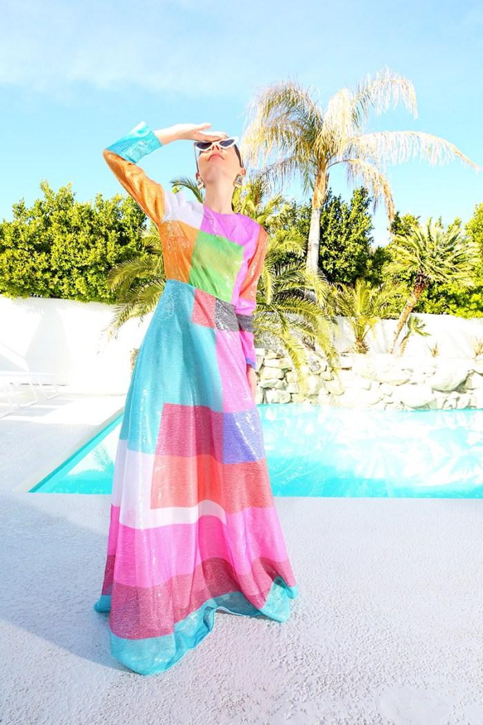 Mary Kratrantzou colour block sequined dress | Kelly Golightly