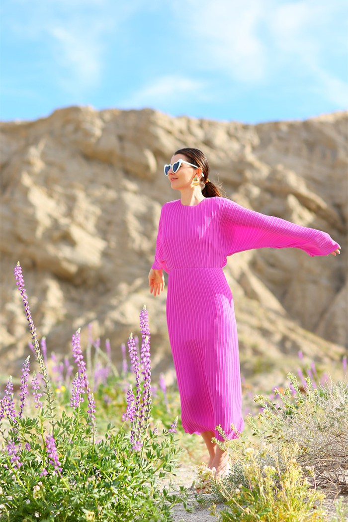 Solace London Ribbed Long Dress in Anza-Borrego for the Super Bloom | Kelly Golightly