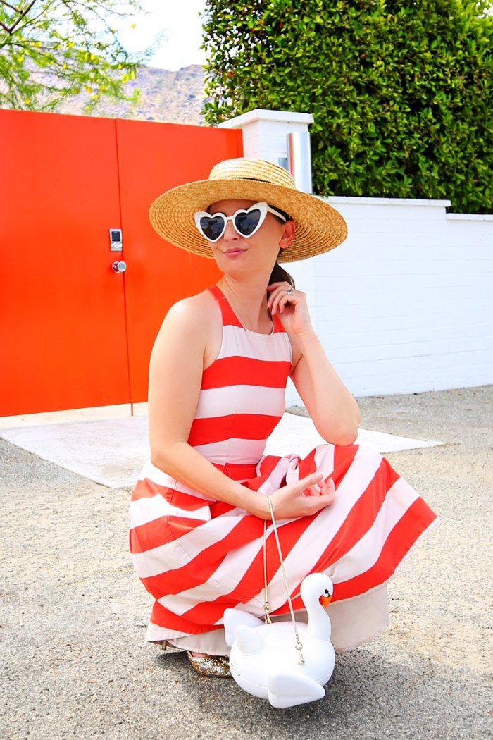 Swan Handbag + Stripes | Kelly Golightly