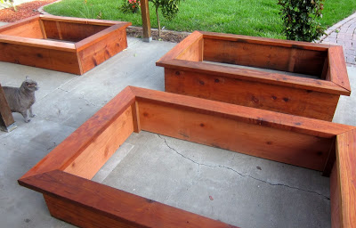 I want wood planters like these for my vegetable gardens!