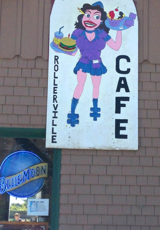 sign for Rollerville Cafe