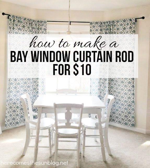 diy bay window curtain rod for less