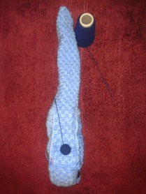 Attaching button ukulele crocheted case sewing