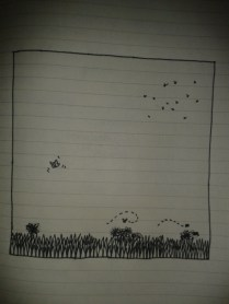 simple insects grass blades sketch black ink moleskine