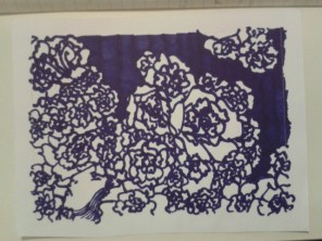 dark blue ink sticker daily drawing project