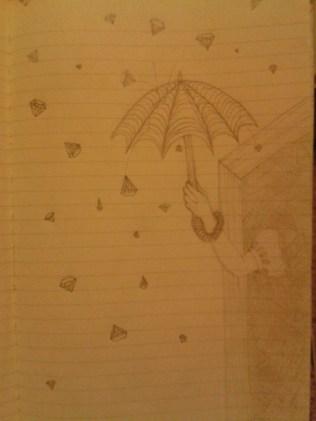 umbrella diamond rain graphite sketch moleskine