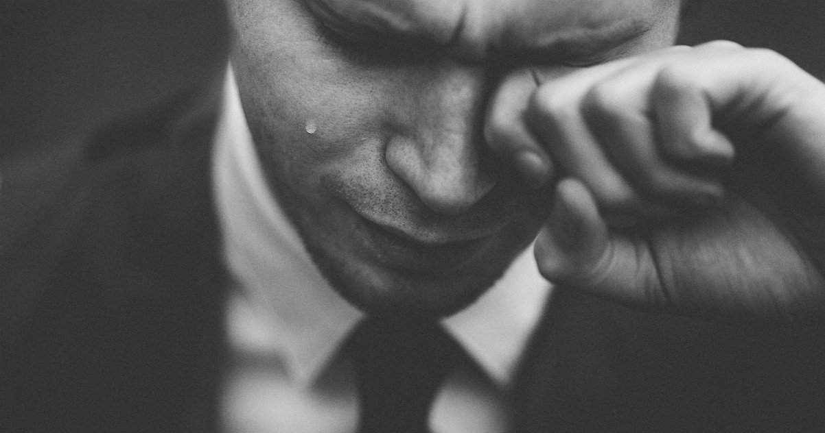 man crying depression