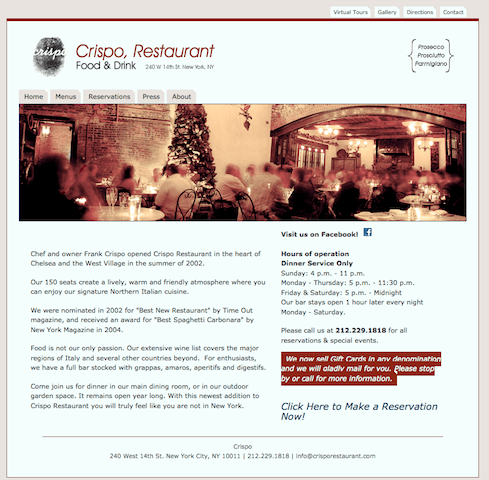 Crispo's homepage is clean, fast, and helpful