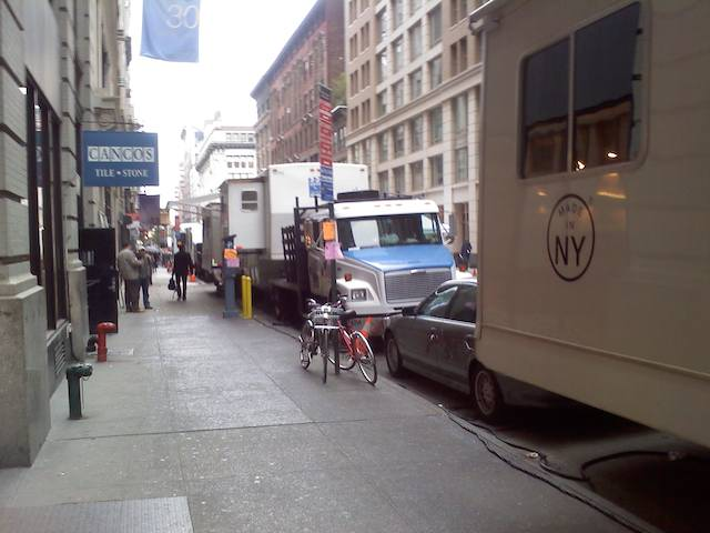 Bumper to bumper trailers and trucks along 2 blocks