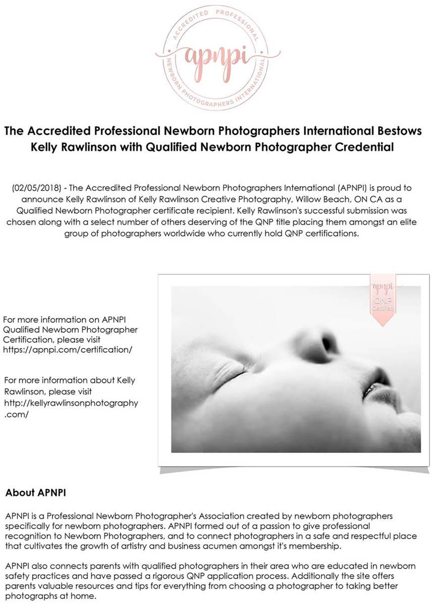 Qualified baby photographer passes newborn safety course and qualified newborn photographer exam