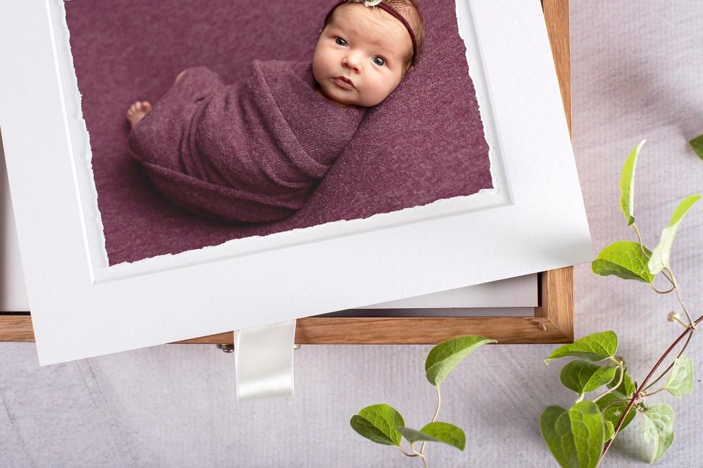 Hand torn fine art newborn photographs