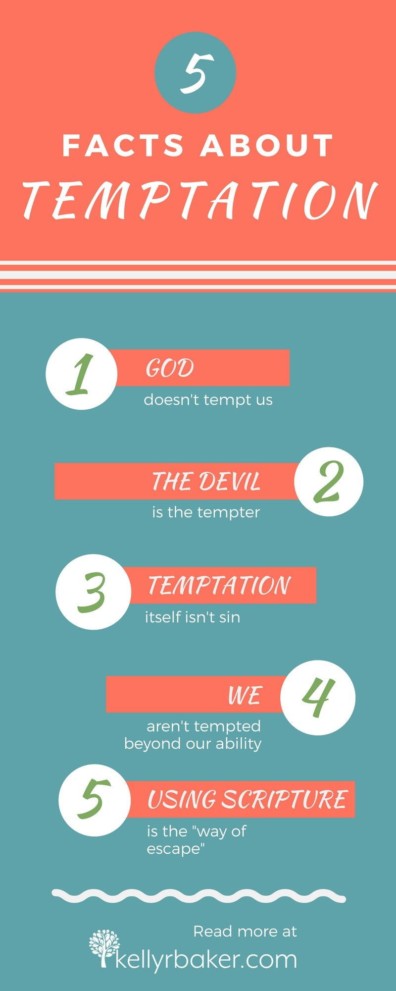 5 Facts about temptation based on biblical truth. Read more at https://kellyrbaker.com #thrive #temptation #wayofescape #spiritualgrowth #biblicaltruths #devil #sin