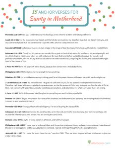 When it seems as if I'm losing my sanity as a mom, the only lasting solution is to anchor my soul with verses from God's Word. THAT'S when I'm going to have sanity in motherhood. This list of 15 verses will help me remember that with God's help I can have sanity in motherhood. #ThrivingInChrist #motherhood #motherhoodstruggles #motherhoodinspiration #motherhoodencouragement #relationships #bible #spiritualgrowth #mothersday #mothersdayquotes #printable #mothersdayprintable #mominspiration #verses #christianmotherhood #bibleverses #motherhoodadvice #kids #mom #thriveinmotherhood