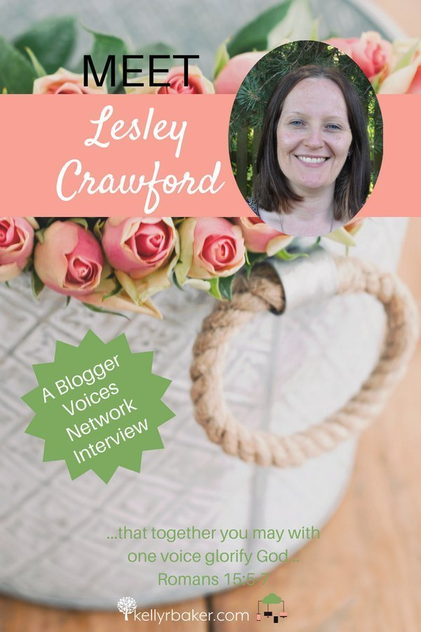 Meet Blogger Voices Network Member Lesley Crawford! In this interview discover what is close to her heart and how God is using her words. #BloggerVoicesNetwork #BVNetworkParty #ThrivingInChrist #lifeinthespaciousplace #interview #blogger #wisdom #spiritualgrowth #Christian #blog