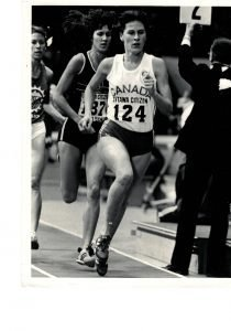 Anne Mackie Morelli competing in track