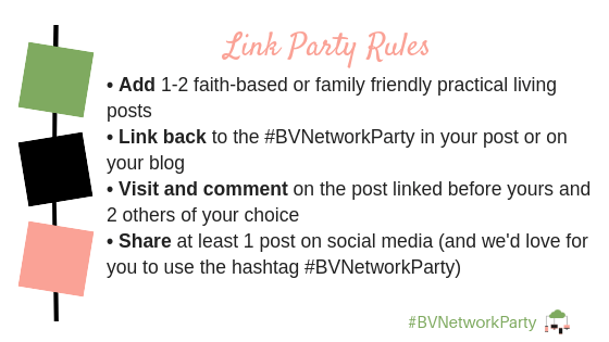 Blogger Voices Network link party rules for the #BVNetworkParty