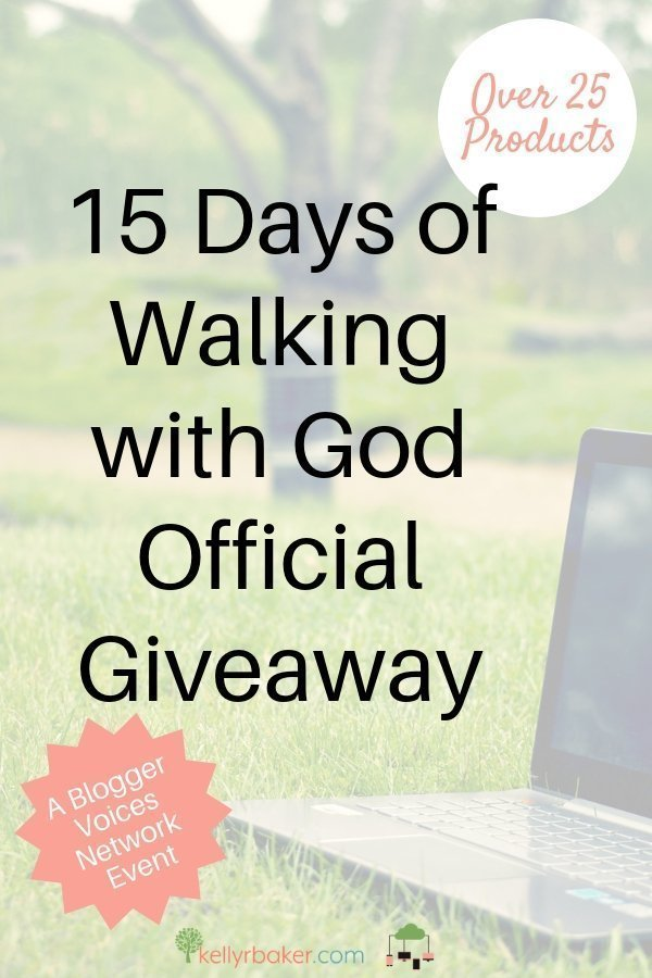 The 15 Days of Walking with God Official Giveaway is hosted by the Blogger Voices Network. We are giving away over 25 products to grow your faith. #BloggerVoicesNetwork #christian #giveaway #faith #books #biblestudy #printable #God #walkingwithGod