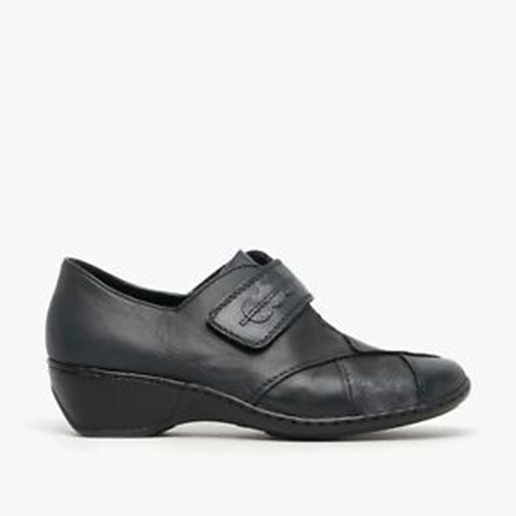 Rieker 47152-14 Ladies Navy Leather Hook and Loop Shoes