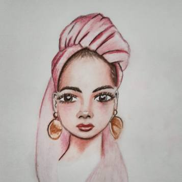 girl with pink headscarf