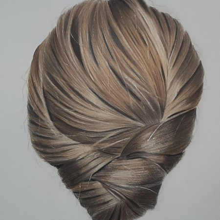 an image of a coloured pencil drawing of hair