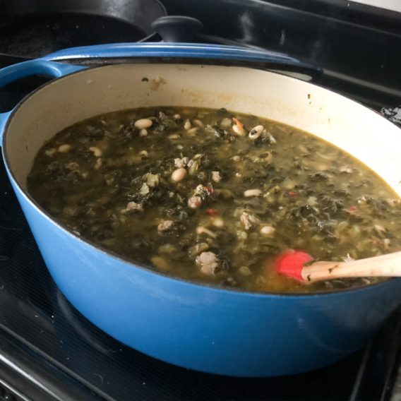 Turnip Greens and Sausage soup complete!