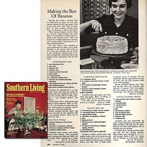 Humming Bird Cake tear-out from Southern Living