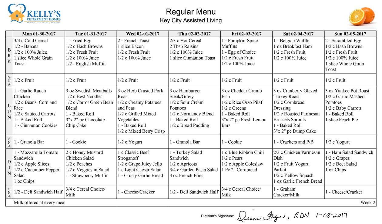 Kelly's Retirement Home Menu