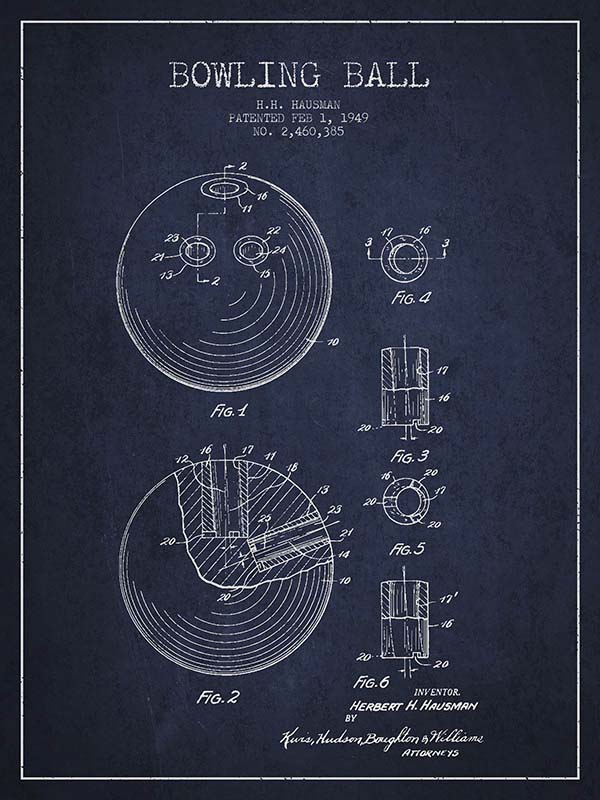 Bowling Ball Patent Drawing from 1949