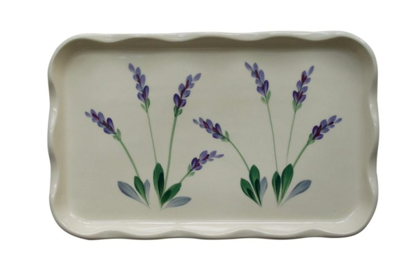 Arousing Appetites Large Ceramic Serving Platter Tray with Decorative Hand Painted Lavender Design
