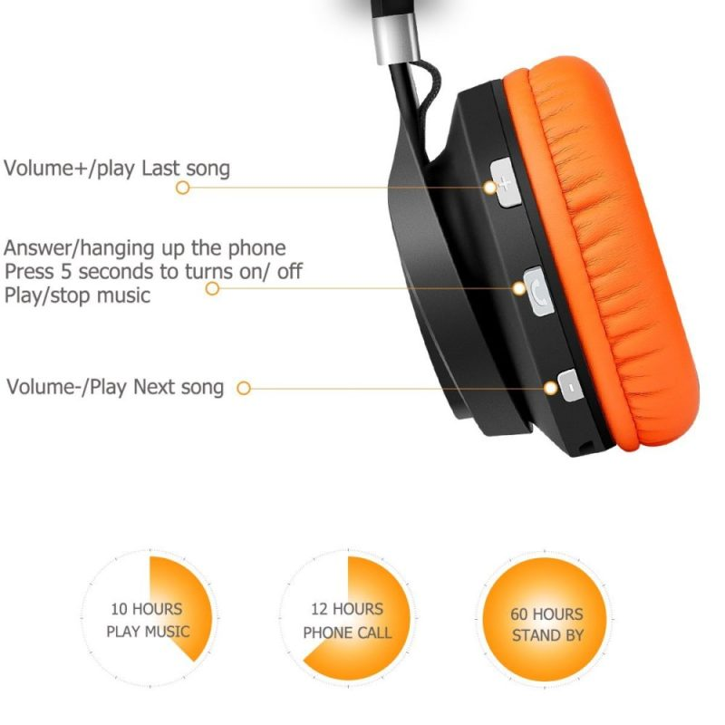 Ailihen BT-02 Over-ear Wireless Bluetooth CSR 4.0 Headphones Foldable Stereo with Build-in Microphone,Folding Wired Music Headsets (Black/Orange)