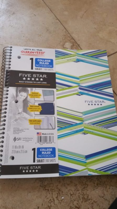 """Mead Five Star Style Wirebound Notebook, 1 Subject, College Ruled, 11"""" x 8 1/2"""""""