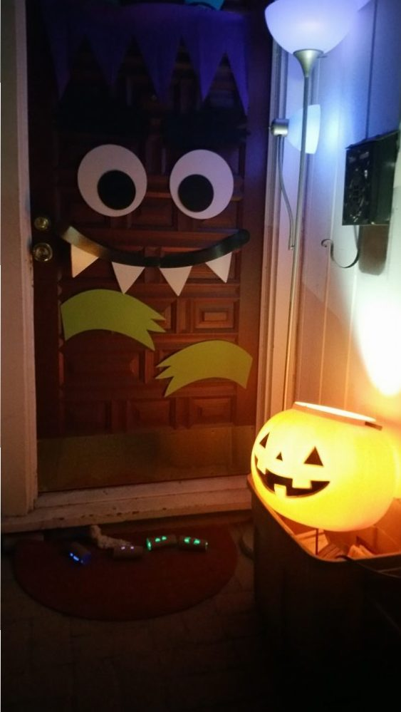 Our Halloween Front Door- With Lights and Sound!